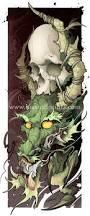dragon skull tattoo print
