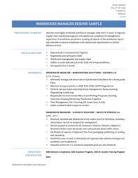 Quality Assurance Manager Resume Sample Warehouse Manager Resume Examples Free Resume Example And