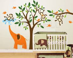 elephant and three monkeys tree wall decal wall sticker leafy