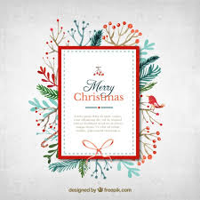 watercolor christmas card in cute style vector free download