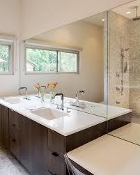 Mirrored Subway Tile Backsplash Bathroom Transitional With by Mirror Backsplash Tiles Bathroom Transitional With Accent Wall