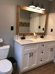 hall bathroom update benjamin moore coventry gray paint rustic