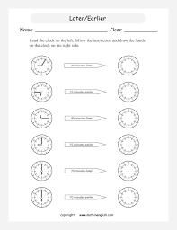 read a clock add or subtract earlier later time and draw the