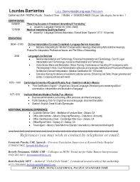 Medical Interpreter Resume Sample by August Public Translator Cv Barrientos Lourdes