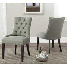 Safavieh Dining Chair Safavieh En Vogue Dining Abby Grey Linen Nailhead Dining Chairs