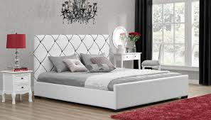 dorel hollywood white with black detail king faux leather