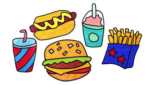 coloring pages fast food for kids drawing hamburger dog