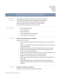Functional Resume Template Sales Branch Sales Manager Resume Samples Template And Job Description
