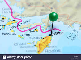 Map Of Greece by Rodos Pinned On A Map Of Greece Stock Photo Royalty Free Image