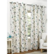 Teal Curtains Leaves Eyelet Lined Curtains Teal 228 X 228cm At Wilko