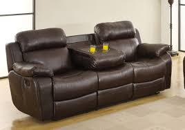 Leather Sofa Reclining Homelegance Marille Sofa Recliner With Drop Cup Holder
