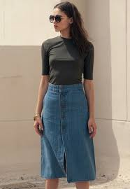denim skirt button front a line denim midi skirt sans souci stores