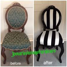 Black And White Striped Chair by Antique Walnut Chair Painted Black U0026 Re Upholstered In Black