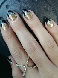 silver gold and black almond shaped nails n a i l a r t by
