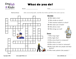 occupations crossword puzzle worksheet pdf jobs and professions
