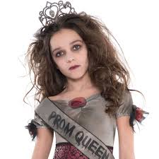 Dead Prom Queen Halloween Costume Girls Teen Prom Queen Zombie Halloween Tiara Crown Dead Fancy