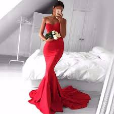 top trumpet mermaid backless red prom dresses sweetheart long