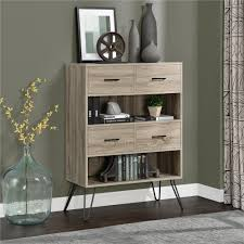 concepts in wood midas double wide 6 shelf bookcase in dry oak