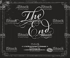 vintage movie the end screen design template stock vector art