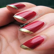 french nails with gold design