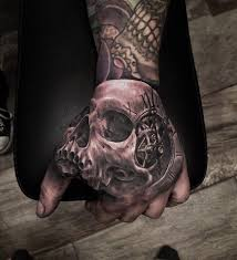 hand tattoo designs for guys skull u0026 clock hand tattoo http tattooideas247 com 3d skull clock