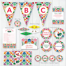 Mexican Party Flags Instant Download Fiesta Baby Shower Package Mexican Theme Baby