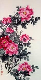 Japanese Flower Artwork - peony woodblock print tanigami konan 1879 1928 chiyogami