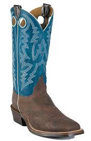 justin bent rail men u0027s chocolate puma w blue top square toe