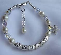 baby name bracelet sterling silver freshwater pearl name bracelet name children