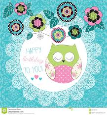 free birthday wallpaper for cell phones cute happy birthday owl illustration royalty free stock photo