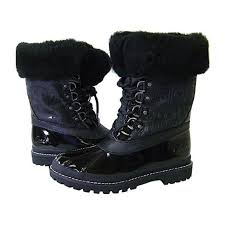 s winter boots size 9 83 coach shoes coach leonora black winter duck boots 9 from