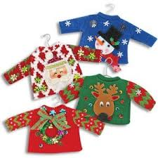 4 assorted sweater ornaments