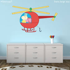 peppa pig helicopter wall sticker stickerscape uk peppa pig helicopter wall sticker