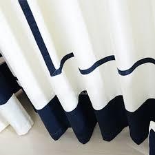 Navy Blue And White Curtains Blue And White Stitching Nautical Style Chenille Room Darkening