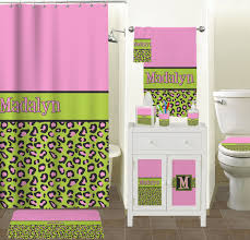 Pink And Brown Bathroom Ideas Bathroom Pink Lime Green Leopard Bathroom Accessories Set