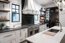 Soapstone Cooktop Backsplash With White Marble And Brass French - Soapstone backsplash