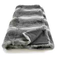 plaids fausse fourrure pour canapé plaid en véritable fourrure lapin gris couverture en fourrure