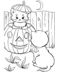 cute cat pumpkins play friend coloring