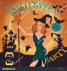 halloween party invitation happy halloween poster stock vector