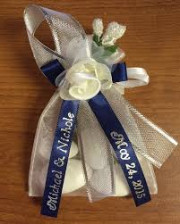 personalized ribbons decorated organza bag w almonds personalized ribbons