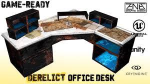 Computer Game Desk by 3d Model Derelict Office Desk Post Apocalyptic Game Asset Vr