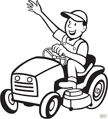 farmer riding a tractor mower coloring page free printable