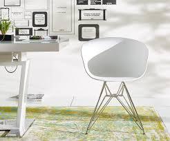 Esszimmer Korbst Le Esszimmerstuhl Lissabon Weiss Matt Edelstahl Gestell Möbel Stühle