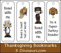 free thanksgiving themed bookmarks 3 dinosaurs