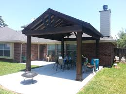 beautiful free standing stained wood gable patio cover custom