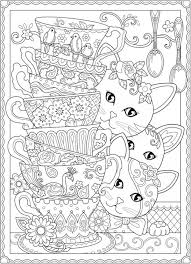 download cats and tea cups coloring page u2013 stamping