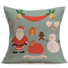 Home Decor Cushions with Tiean Merry Christmas Linen Pillow Cases Sofa Cushion Cover Home