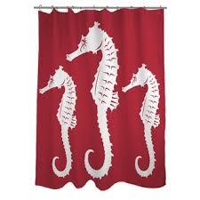 nautical nonsense red white seahorses shower curtain free