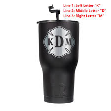 personalized firefighter gifts custom decals fire apparel black rtic 30oz cup with custom silver maltese decal