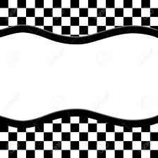 Black And White Checkered Black And White Checkered Frame With Wave Ribbon Background With